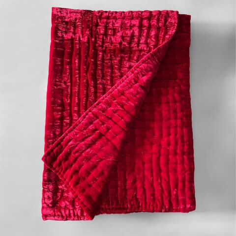 Anichini Pho Silk Velvet Quilts And Bed Throws In Blood Red