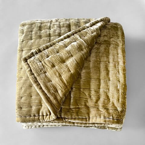 Anichini Pho Silk Velvet Quilts And Bed Throws In Lichen