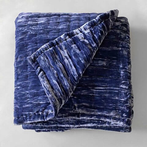 Anichini Pho Silk Velvet Quilts And Bed Throws In Midnight Blue