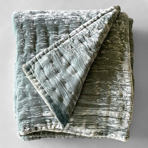 Anichini Pho Silk Velvet Quilts And Bed Throws In Slate