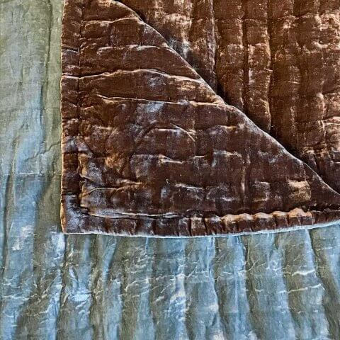 Anichini Handmade Pho Velvet Quilt In Bronze / Pewter