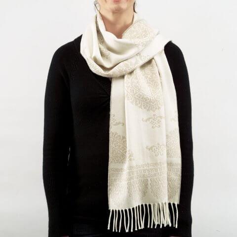 Anichini Taormina Merino Wool Scarf In Beige / Ivory
