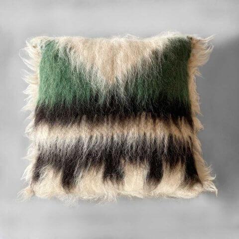 Anichini Triangle Green Handmade Brushed Wool Pillows