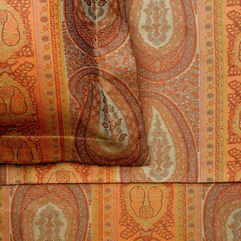 Anichini Taj Paisley Jacquard Ultra King Sheeting in Rust/Sage