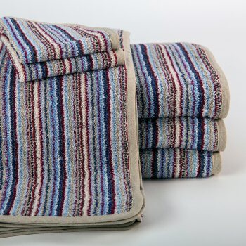 ANICHINI Vilnius Upcycled Striped Linen Terry Bath Linens