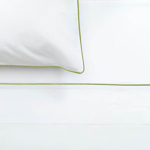 Anichini Palladio Percale Sheeting in White/Grey