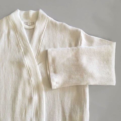 Anichini Lukina Linen Waffle Robes In Natural