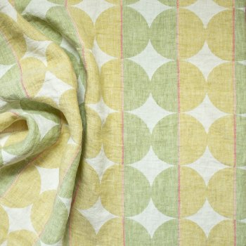 Contorno Modern Graphic Linen Fabric In 05 Olive Green, Right Side | ANICHINI Fabrics