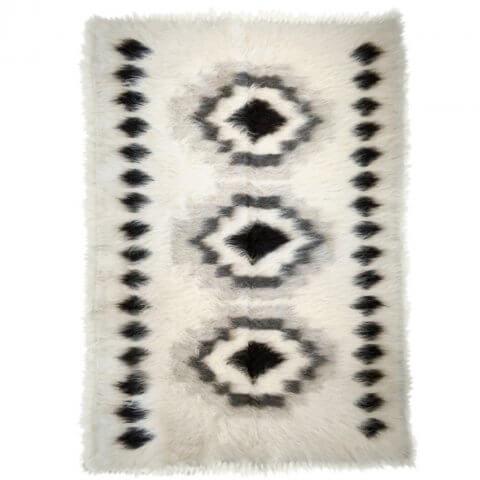 Anichini Black Diamonds Brushed Natural Wool Rugs
