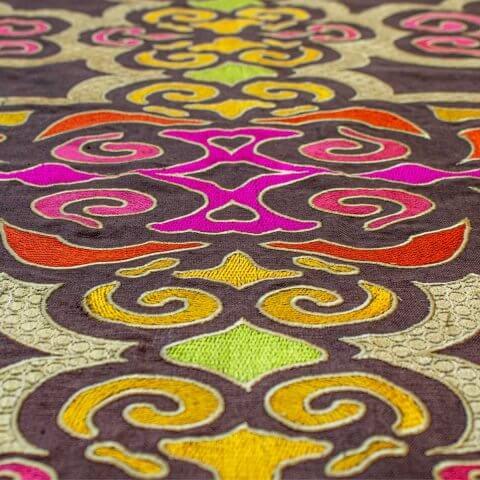 Anichini Pema Colorful Embroidered Tibetan Fabric By The Yard