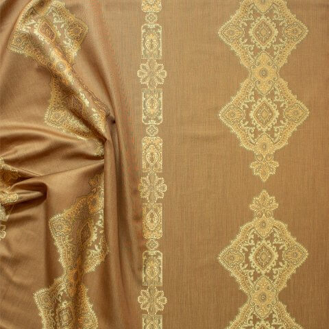 Anichini Persia Jacquard Medallion Fabric By The Yard In Camel Reverse