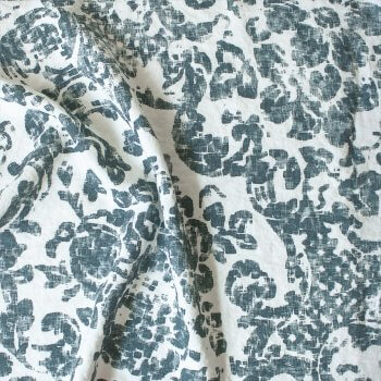 Anichini Yutes Collection June Floral Printed Linen Fabric In 04 Petrol
