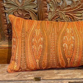 Anichini Paisley Fire Rare Finds Hand Embroidered Silk Pillows