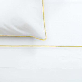 Anichini Palladio Percale Sheeting in White/Marigold