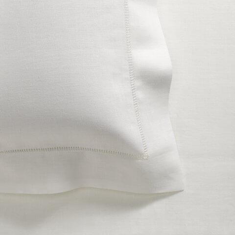 Anichini Ivy Italian Linen Hand-Hemstitched Sheeting in White