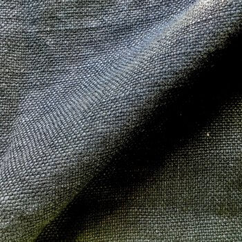 Anichini Yutes Collection Barroco Solid Basket Weave Linen Fabric In Charcoal