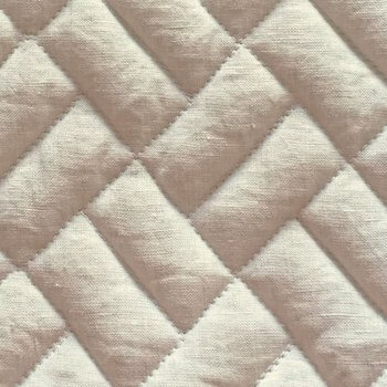Anichini Yutes Collection Brick Geometric Quilted Linen Fabric In Ivory