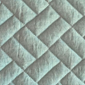 Anichini Yutes Collection Brick Geometric Quilted Linen Fabric In Slate