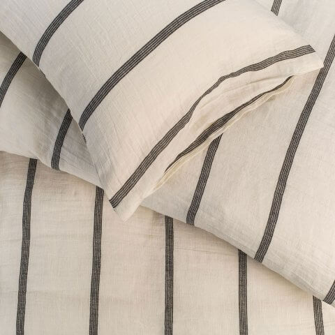 ANICHINI | Valdas Linen Stripe Sheeting - Relaxed, Washed