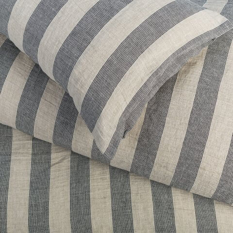 Anichini Valdas Striped Linen Duvet Covers And Cases