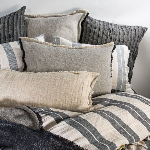 Anichini Linen Plissé Coverlets And Shams In Black