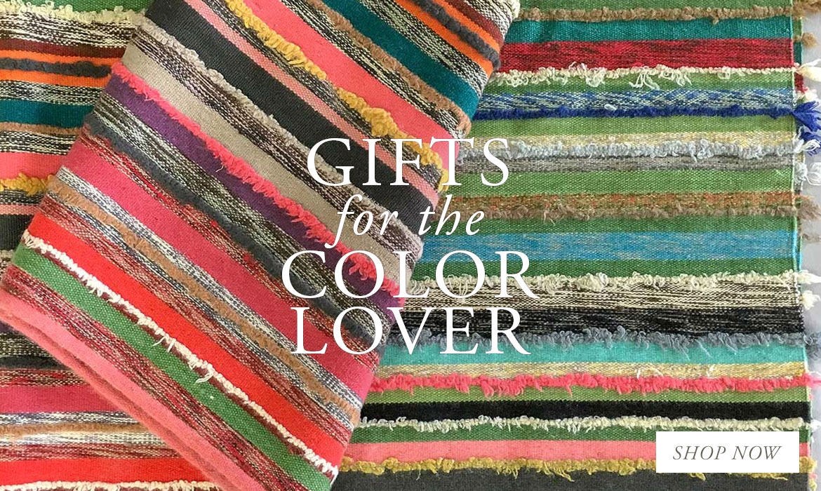 Gifts For The Color Lover - Bright Multi Stripe Handwoven Cashmere Throw