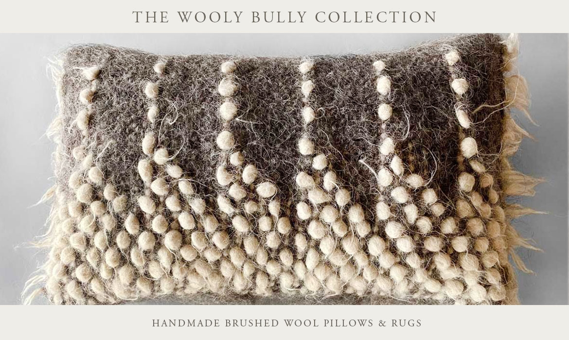 Rustic, Natural Brushed Wool Pillows & Rugs - Bohemian, Modern Design